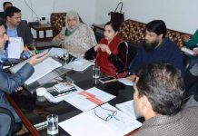 JKSSB Chairman Khalid Jahangir chairing the Board meeting in Jammu on Thursday.