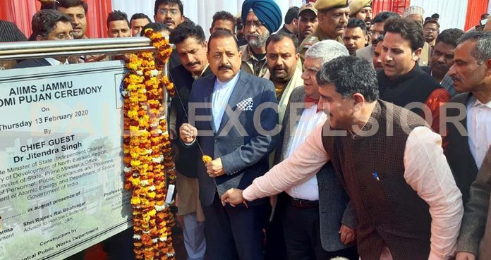 Union Minister, Dr Jitendra Singh performing 'Bhoomi Poojan' of AIIMS at Vijaypur along with MP Jugal Kishore Sharma on Thursday. -Excelsior/Rakesh