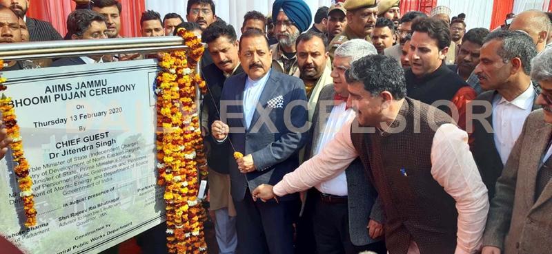 Union Minister, Dr Jitendra Singh performing 'Bhoomi Poojan' of AIIMS at Vijaypur along with MP Jugal Kishore Sharma on Thursday. -Excelsior/Rakesh