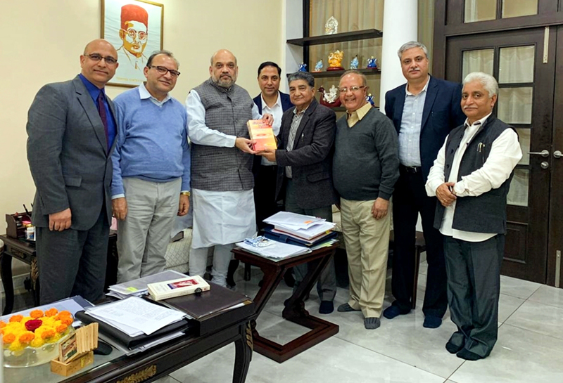 KP leaders in a meeting with Union Home Minister Amit Shah in New Delhi on Tuesday.