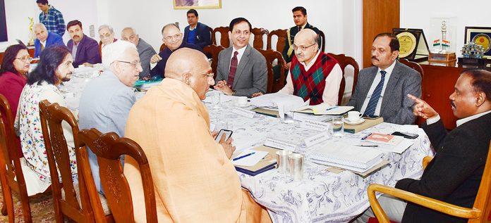 Lieutenant Governor Girish Chandra Murmu chairing a meeting of Shri Amarnath Ji Shrine Board (SASB) in Jammu on Friday.
