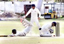 Haryana batsman making valiant effort to save himself from getting run-out in Ranji Trophy match at Jammu. -Excelsior/Rakesh