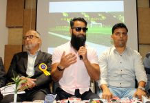 J&K International footballers addressing media persons in Jammu on Wednesday. -Excelsior/Rakesh