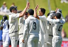 New Zealand team celebrating victory against India in Ist Test match at Wellington on Monday.