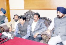 JKFA office bearers addressing media persons during a meeting in Jammu on Wednesday. -Excelsior/Rakesh
