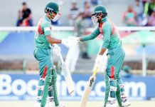 Bangladeshi batsmen shaking hands after defeating India in U-19 World Cup final.