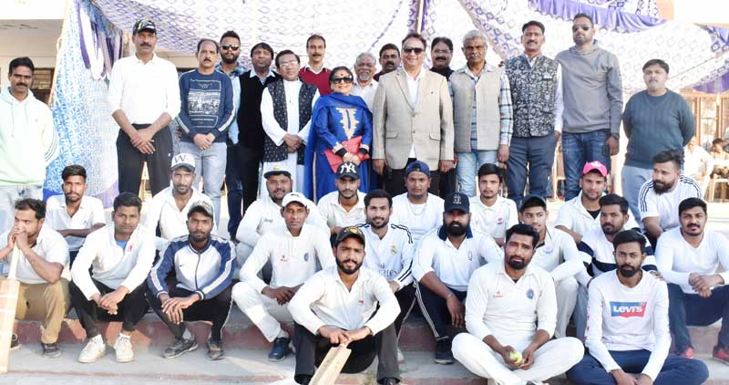 Players posing along with dignitaries and officials during inaugural ceremony of 3rd Inter Church Cricket Championship in Jammu.