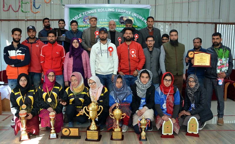 Table Tennis players after receiving prizes at GDC Shopian on Wednesday.