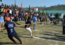 Players in action during a Tug of War match at Govt PG College in Rajouri.