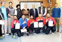 JKP sportspersons posing along with ADGP A K Choudhary during felicitation function in Jammu.