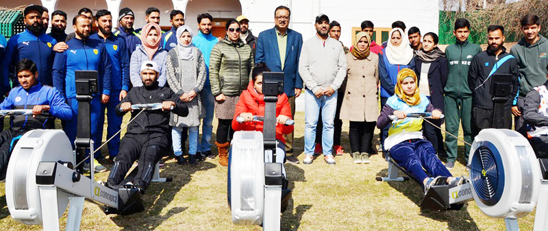 Members of JKARS posing along with Navin Kumar Choudhary after procurement of equipment in Srinagar on Monday.