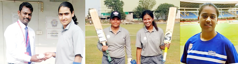 Bismah receiving match ball from Referee (L) Nadia and Tanisha after completing fifties (M), Ananya after taking 5-wickets (R).