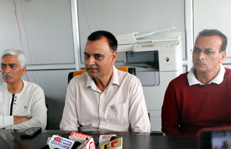 JKCA CEO Syed Ashiq Hussain Bukhari addressing media persons in Jammu on Wednesday. -Excelsior/Rakesh