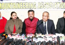 Office bearers of MAJK addressing media persons in Jammu on Monday. —Excelsior/Rakesh