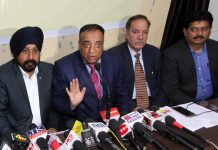 Presidents and other members of JKFA addressing media persons in Jammu on Monday.