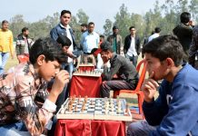 Players in action during a match of Inter Block Chess Championship in Reasi.