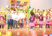 Kids staging cultural programme during the Annual Day function of Apple Kids school in Jammu.