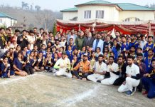 Winning teams posing along with chief guest at Government PG College Rajouri on Thursday.