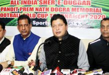 Former MLA Rajesh Gupta and other organizing members of Pt Prem Nath Dogra Memorial Gold Cup Football addressing media persons in Jammu. -Excelsior/Rakesh