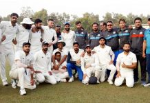 J&K Ranji Trophy team posing along with supporting staff at Agartala on Thursday.