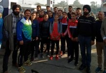 Players being flagged off by Youth Congress leaders from Jammu.