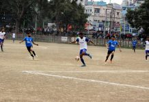 Players in action during semifinal match of Football Championship at GGM Science College ground on Thursday. -Excelsior/Rakesh