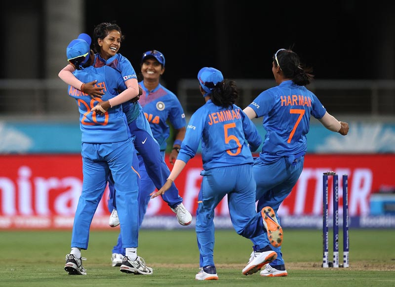 Poonam Yadav is ecstatic after taking a wicket.