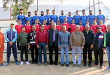 J&K Kabaddi teams posing along with dignitaries and officials before leaving for Senior National on Thursday.