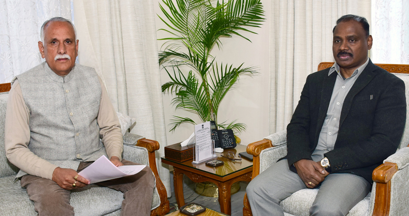 Lt Governor meeting Shamsher Singh Manhas, Member of Parliament on Friday.