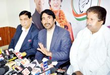 PCC chief GA Mir addressing press conference in Jammu on Monday. -Excelsior/Rakesh
