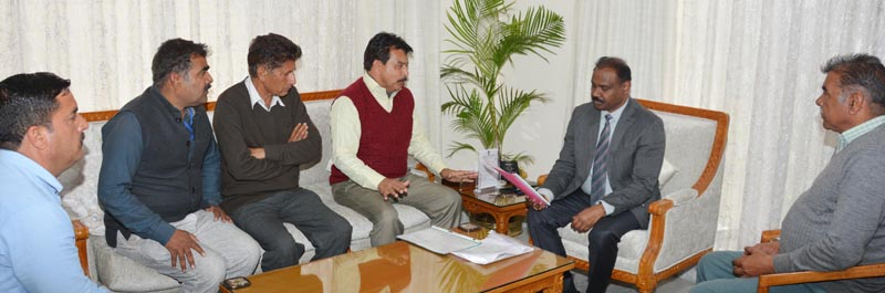 Lt Governor meeting delegation of Jammu Kashmir Panch Association on Wednesday.