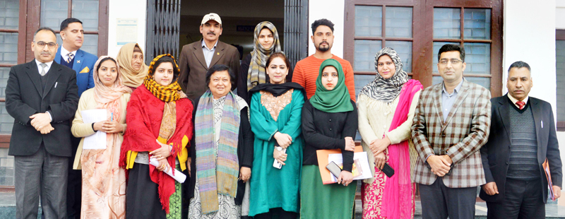 CJ J&K High Court, Gita Mittal posing for group photograph at a function at Srinagar on Thursday.