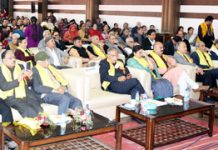 Advisor to Governor, K K Sharma addressing a Herat Millan at Jammu on Saturday.