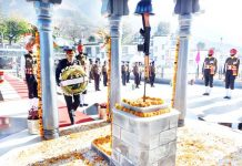 Lt Gen Upendra Dwivedi paying tributes to war heroes after assuming charge as GOC, Rising Star Corps.
