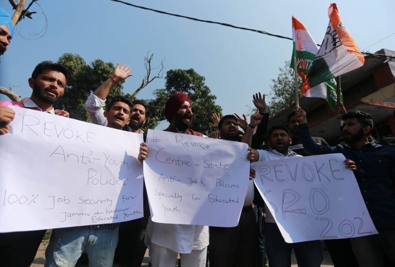 Youth Congress activists staging protest in Jammu on Tuesday. — Excelsior/Rakesh