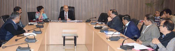 Advisor K K Sharma charing a meeting on Wednesday.
