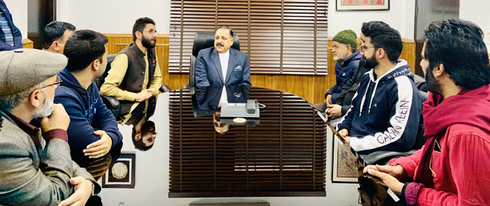 Union Minister Dr Jitendra Singh at a meeting with Sarpanches and BDC Chairmen from far-flung areas of Kashmir valley, at New Delhi.