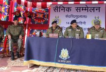 DG CRPF Dr AP Maheshwari and DGP J&K Dilbag Singh during a meeting at DPL Shopian.
