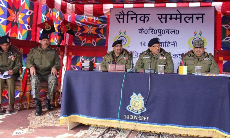DG CRPF Dr AP Maheshwari and DGP J&K Dilbag Singh during a meeting at DPL Shopian.
