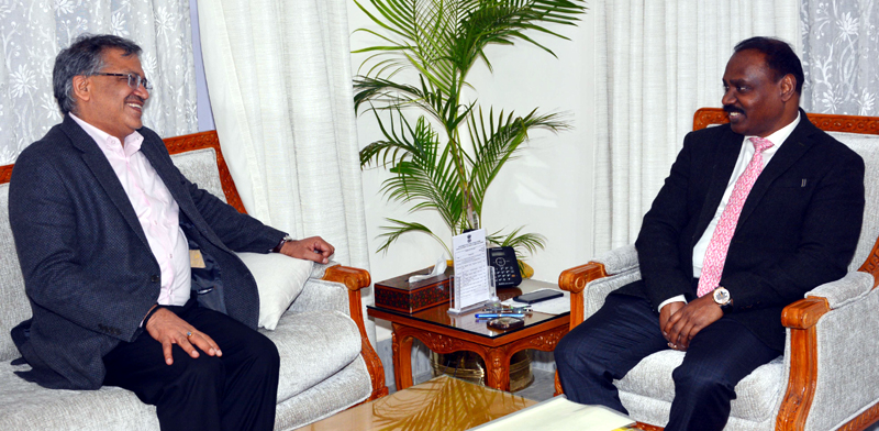 Lt. Governor meeting Gyanesh Kumar, Additional Secretary Home, Gol on Thursday.
