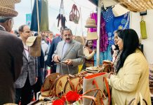 "Union Minister Dr Jitendra Singh visiting ""Hunar Haat"" at Rajpath, New Delhi on Friday."