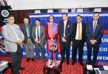 Mona Singh, Principal Commissioner of Income Tax, (J&K) and other officers posing after inaugurating a seminar at Jammu.