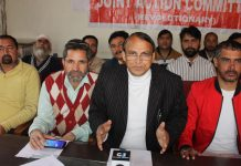 EJAC president, Babu Hussain Malik addressing press conference in Jammu on Wednesday. —Excelsior/Rakesh
