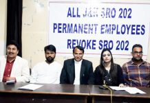 SRO-202 employees body and EJAC leaders addressing joint press conference in Jammu on Sunday.