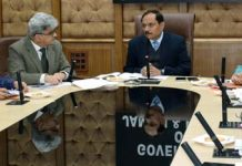 Advisor RR Bhatnagar chairing a meeting in Jammu on Tuesday.