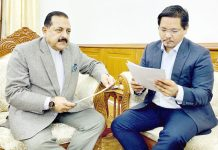 Chief Minister of Meghalaya, Conrad Sangma calling on Union Minister Dr Jitendra Singh at New Delhi on Wednesday.