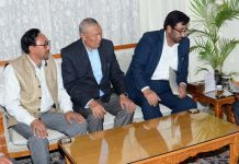 Lt Governor meeting Haji Anayat Ali, former Chairman, J&K Legislative Council on Tuesday.