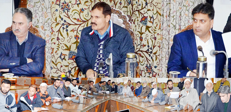 Khurshid Shah and Talat Parvez taking stock of public grievances at Srinagar.