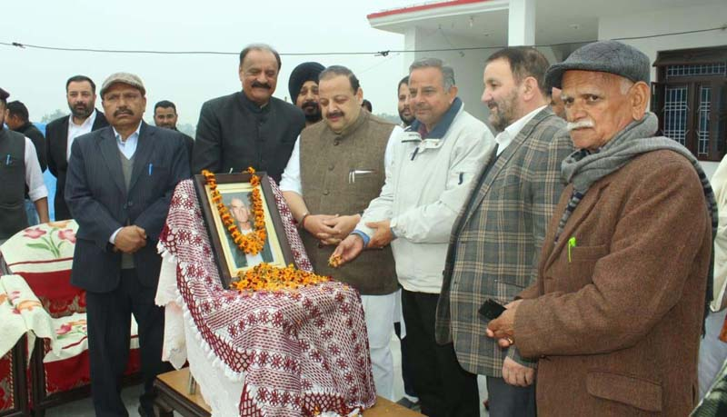 NC Provincial President Devender Singh Rana and other leaders paying tributes to Block President Ganga Singh on Tuesday.