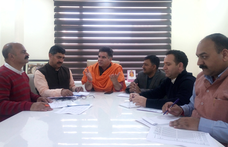 BJP leaders during a party meeting at Jammu on Friday.